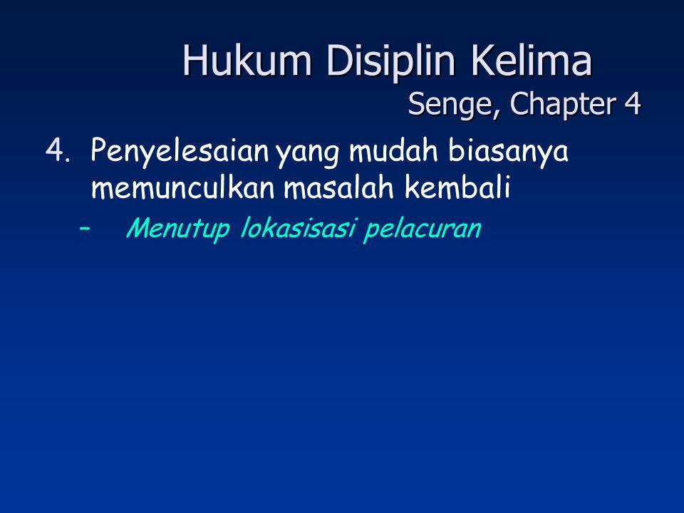 Hukum Disiplin Kelima Senge, Chapter 4 4.Penyelesaian yang mudah biasanya memunculkan masalah kembali –Menutup lokasisasi pelacuran