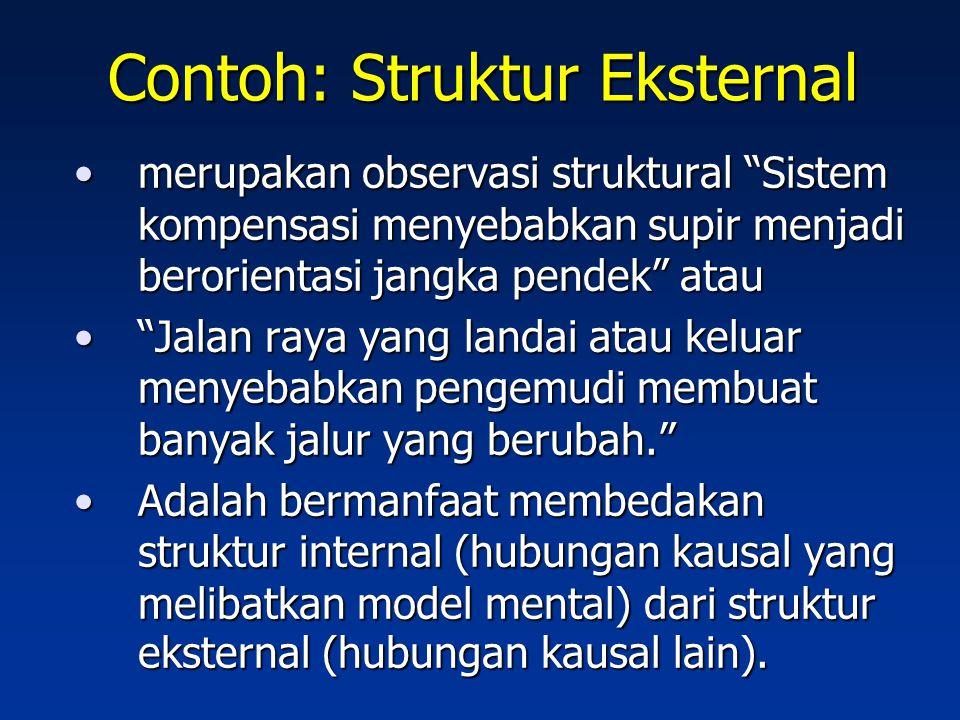 Kesulitan Berpikir Sistem Struktur adalah jaringan hubungan dari setiap bagian, karena itu, observasi struktural harus mencakup hubungan kausal.Struktur adalah jaringan hubungan dari setiap bagian, karena itu, observasi struktural harus mencakup hubungan kausal.
