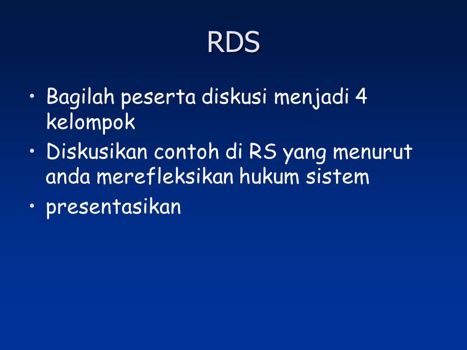 RDS Bagilah peserta diskusi menjadi 4 kelompok Diskusikan contoh di RS yang menurut anda merefleksikan hukum sistem presentasikan
