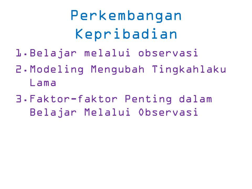 Perkembangan Kepribadian 1.Belajar melalui observasi 2.Modeling Mengubah Tingkahlaku Lama 3.Faktor-faktor Penting dalam Belajar Melalui Observasi