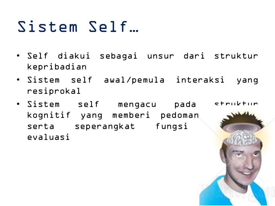 Sistem Self… Self diakui sebagai unsur dari struktur kepribadian Sistem self awal/pemula interaksi yang resiprokal Sistem self mengacu pada struktur kognitif yang memberi pedoman mekanisme serta seperangkat fungsi persepsi, evaluasi