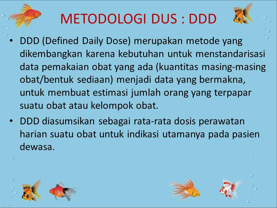 METODOLOGI DUS : DDD DDD (Defined Daily Dose) merupakan metode yang dikembangkan karena kebutuhan untuk menstandarisasi data pemakaian obat yang ada (
