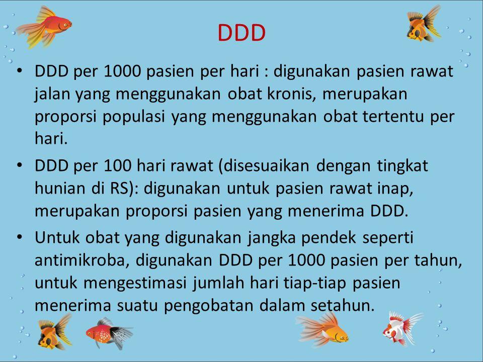DDD DDD per 1000 pasien per hari : digunakan pasien rawat jalan yang menggunakan obat kronis, merupakan proporsi populasi yang menggunakan obat terten