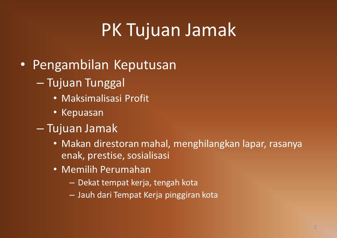 PK Tujuan Jamak Pengambilan Keputusan – Tujuan Tunggal Maksimalisasi Profit Kepuasan – Tujuan Jamak Makan direstoran mahal, menghilangkan lapar, rasan