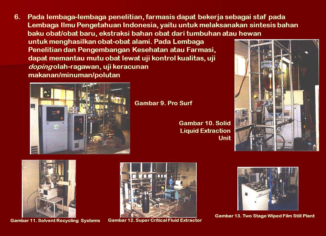 6.Pada lembaga-lembaga penelitian, farmasis dapat bekerja sebagai staf pada Lembaga Ilmu Pengetahuan Indonesia, yaitu untuk melaksanakan sintesis baha