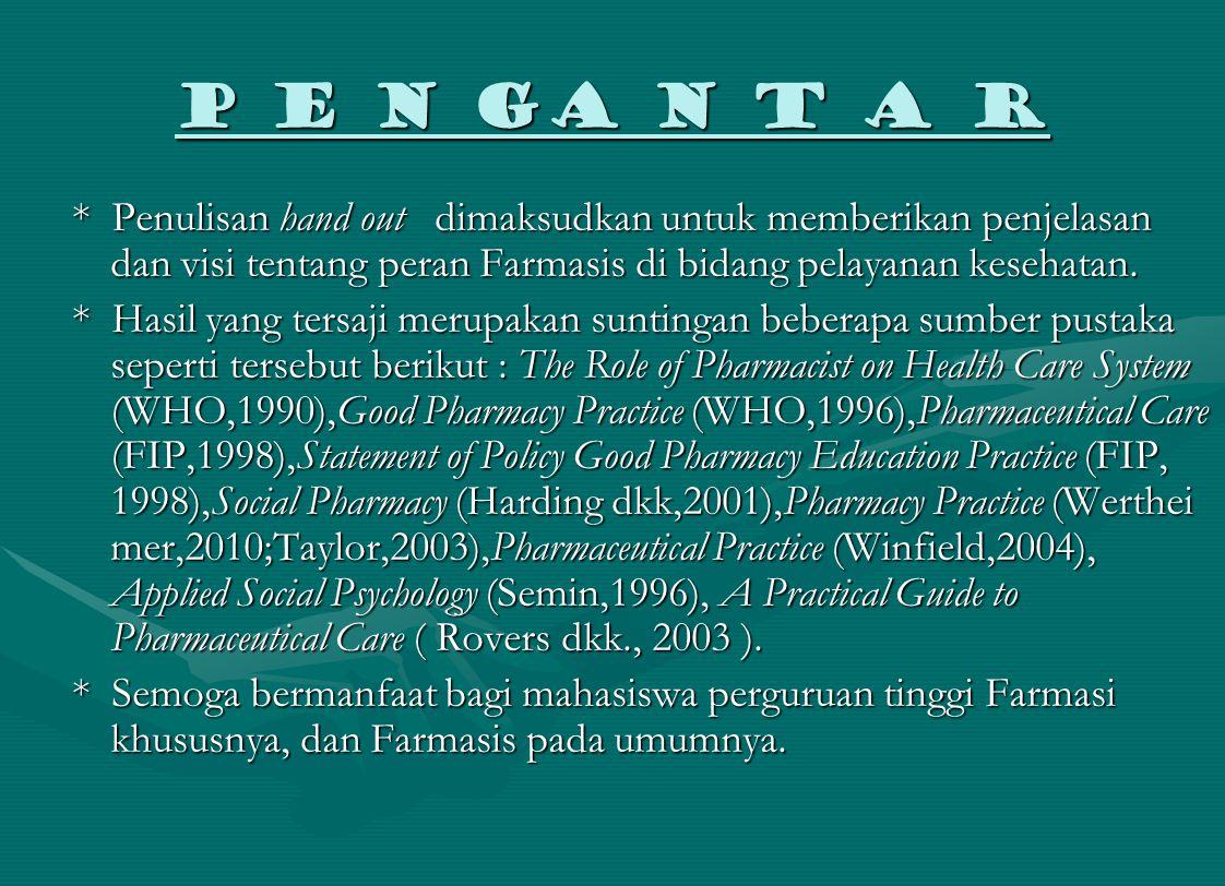 P E N GA N T A R * Penulisan hand out dimaksudkan untuk memberikan penjelasan dan visi tentang peran Farmasis di bidang pelayanan kesehatan. * Hasil y