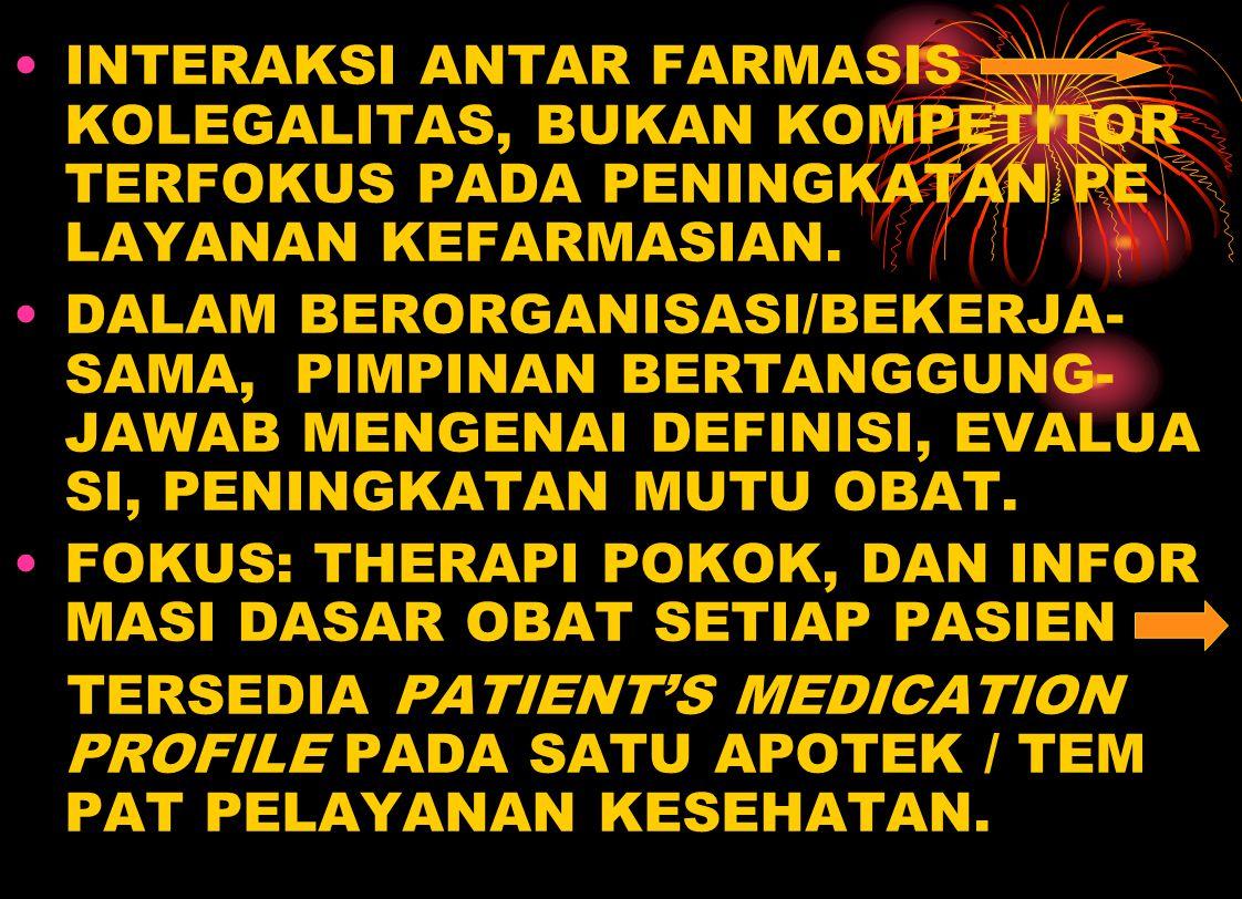 INTERAKSI ANTAR FARMASIS KOLEGALITAS, BUKAN KOMPETITOR TERFOKUS PADA PENINGKATAN PE LAYANAN KEFARMASIAN. DALAM BERORGANISASI/BEKERJA- SAMA, PIMPINAN B