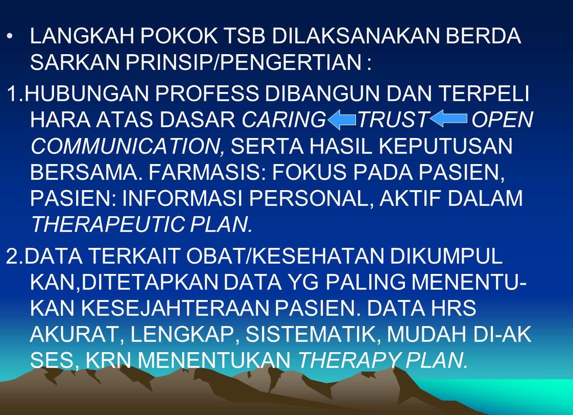 LANGKAH POKOK TSB DILAKSANAKAN BERDA SARKAN PRINSIP/PENGERTIAN : 1.HUBUNGAN PROFESS DIBANGUN DAN TERPELI HARA ATAS DASAR CARING TRUST OPEN COMMUNICATI