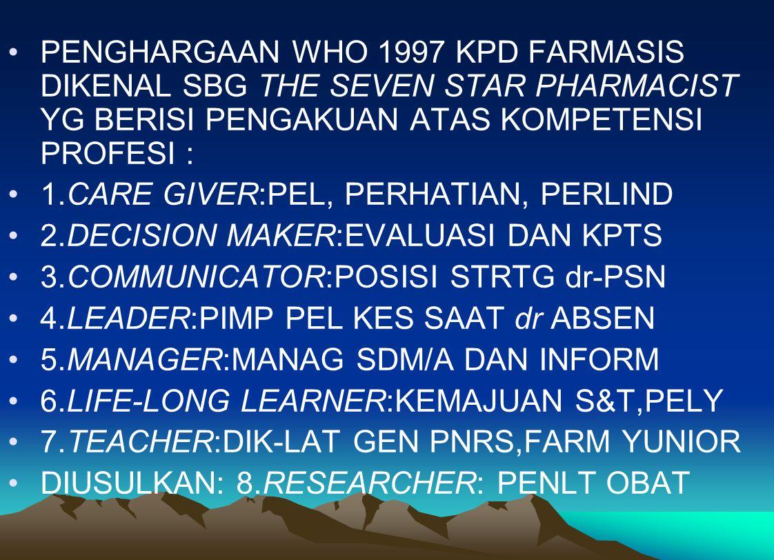 PENGHARGAAN WHO 1997 KPD FARMASIS DIKENAL SBG THE SEVEN STAR PHARMACIST YG BERISI PENGAKUAN ATAS KOMPETENSI PROFESI : 1.CARE GIVER:PEL, PERHATIAN, PER