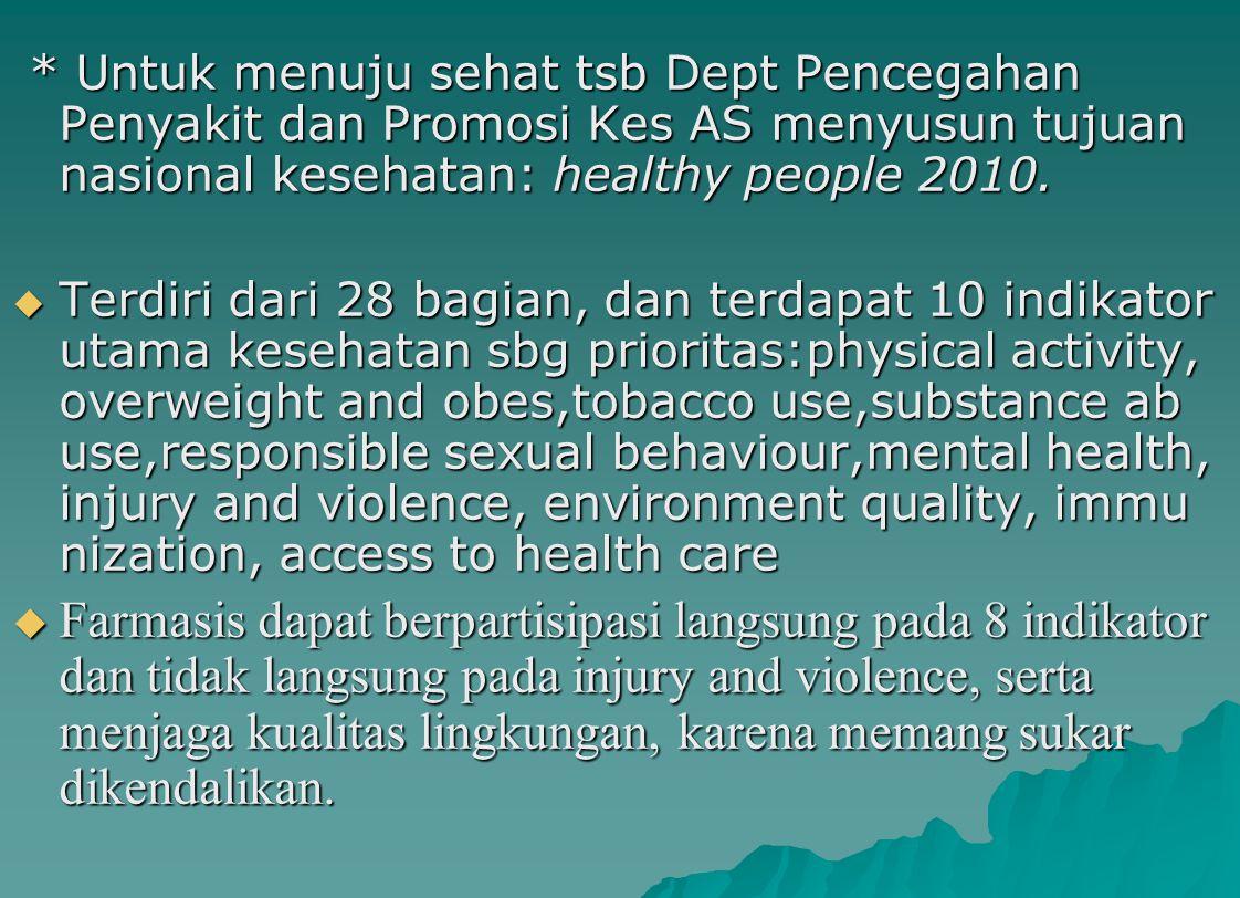 * Untuk menuju sehat tsb Dept Pencegahan Penyakit dan Promosi Kes AS menyusun tujuan nasional kesehatan: healthy people 2010. * Untuk menuju sehat tsb