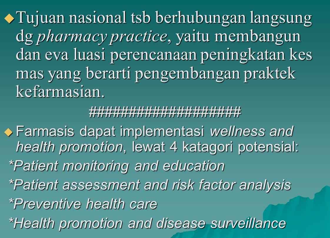  Tujuan nasional tsb berhubungan langsung dg pharmacy practice, yaitu membangun dan eva luasi perencanaan peningkatan kes mas yang berarti pengembang