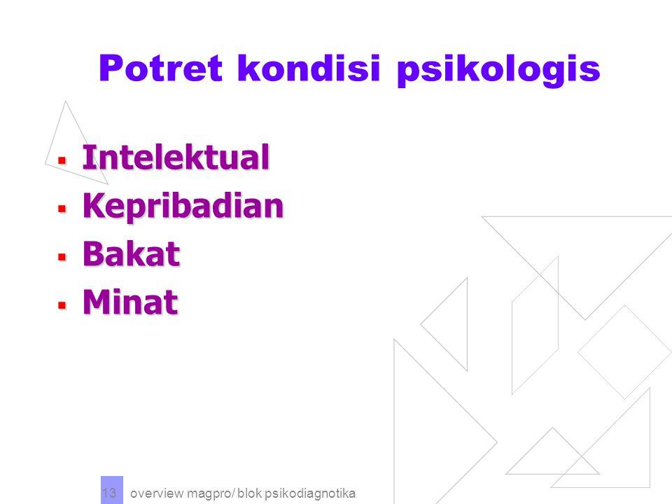 overview magpro/ blok psikodiagnotika 13 Potret kondisi psikologis  Intelektual  Kepribadian  Bakat  Minat
