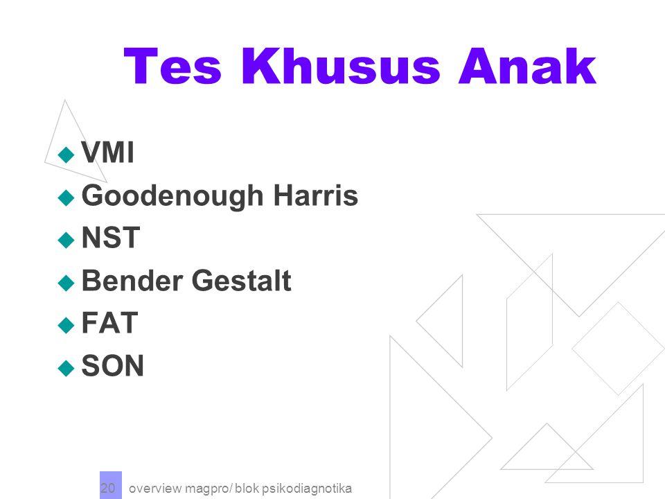 overview magpro/ blok psikodiagnotika 20 Tes Khusus Anak  VMI  Goodenough Harris  NST  Bender Gestalt  FAT  SON