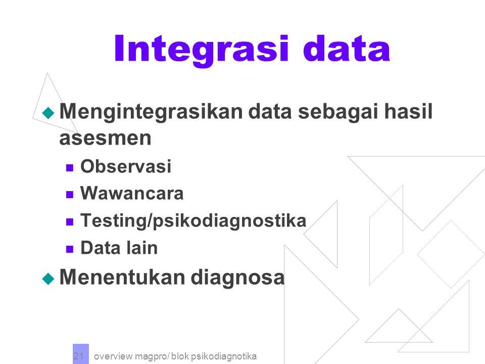 overview magpro/ blok psikodiagnotika 21 Integrasi data  Mengintegrasikan data sebagai hasil asesmen Observasi Wawancara Testing/psikodiagnostika Data lain  Menentukan diagnosa