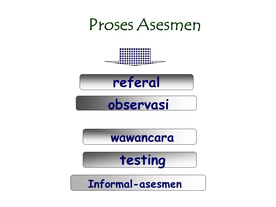 Proses Asesmen referal observasi wawancara testing Informal-asesmen