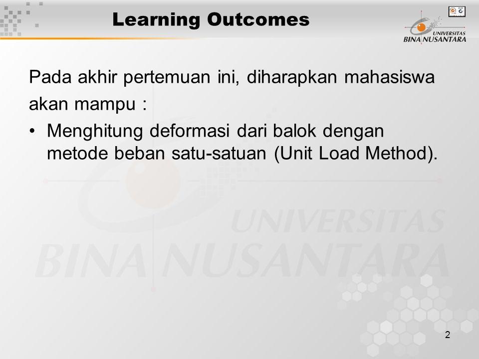 2 Learning Outcomes Pada akhir pertemuan ini, diharapkan mahasiswa akan mampu : Menghitung deformasi dari balok dengan metode beban satu-satuan (Unit