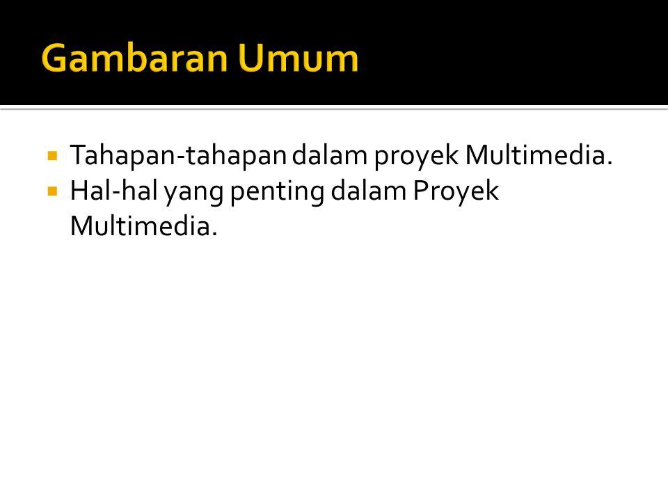  Tahapan-tahapan dalam proyek Multimedia.  Hal-hal yang penting dalam Proyek Multimedia.