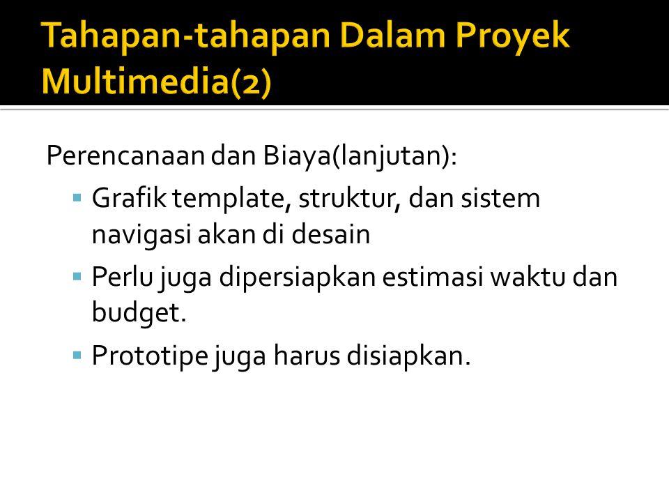 Perencanaan dan Biaya(lanjutan):  Grafik template, struktur, dan sistem navigasi akan di desain  Perlu juga dipersiapkan estimasi waktu dan budget.