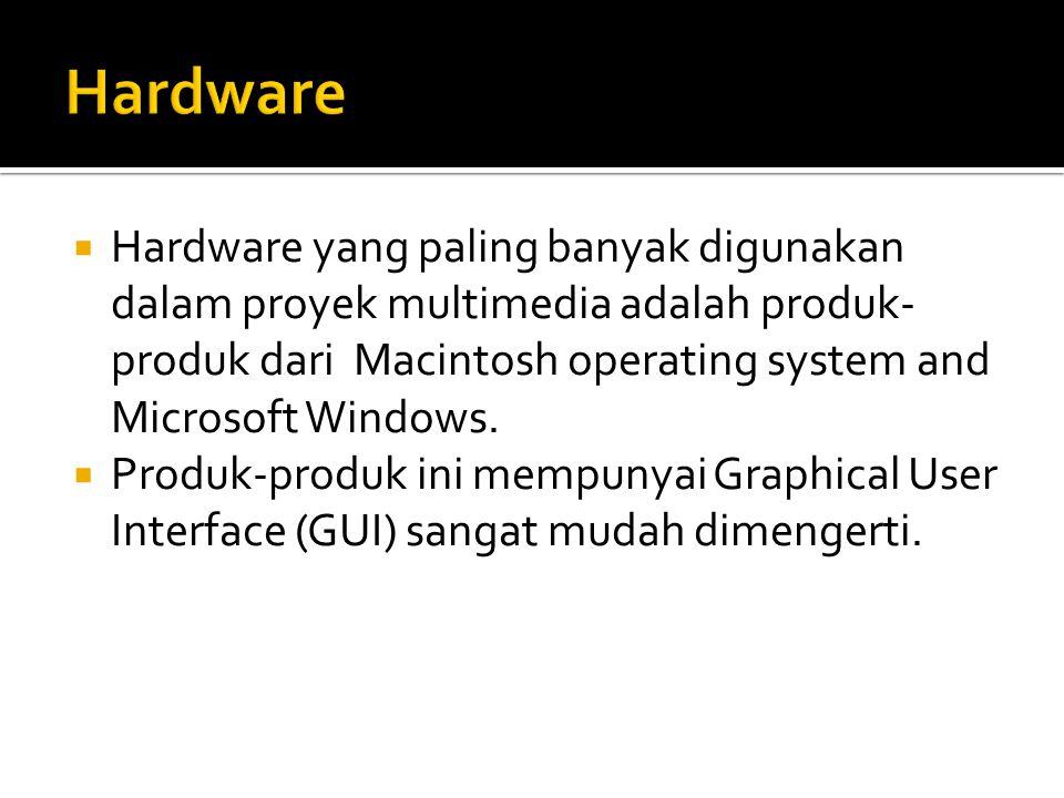  Hardware yang paling banyak digunakan dalam proyek multimedia adalah produk- produk dari Macintosh operating system and Microsoft Windows.  Produk-