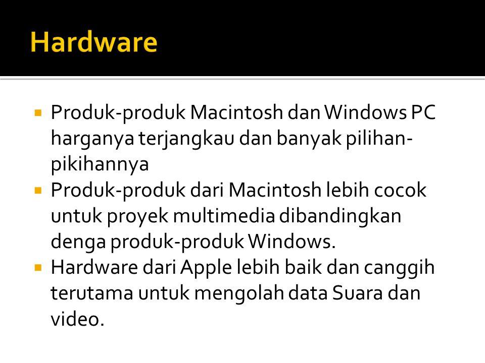  Produk-produk Macintosh dan Windows PC harganya terjangkau dan banyak pilihan- pikihannya  Produk-produk dari Macintosh lebih cocok untuk proyek mu