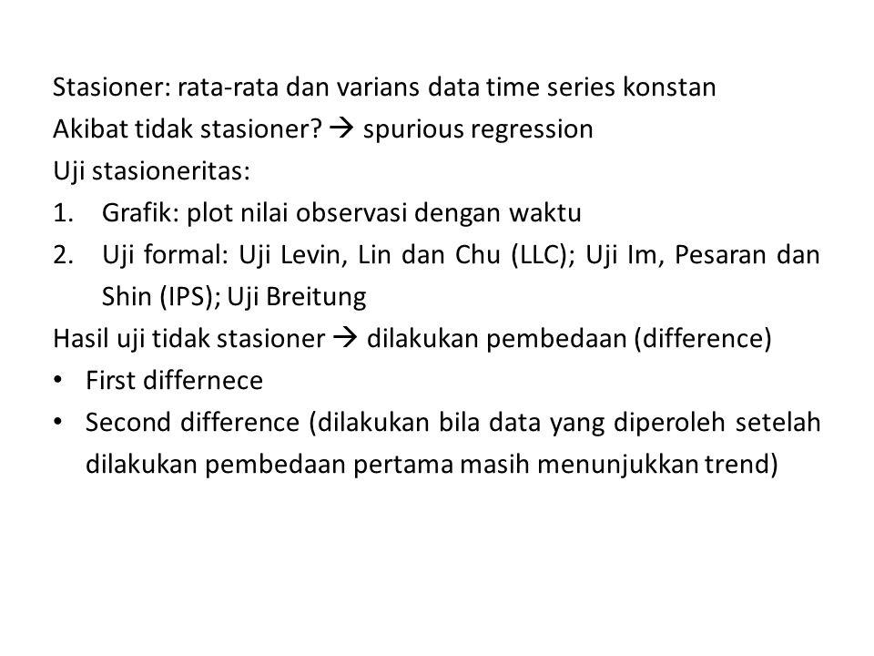 Stasioner: rata-rata dan varians data time series konstan Akibat tidak stasioner?  spurious regression Uji stasioneritas: 1.Grafik: plot nilai observ