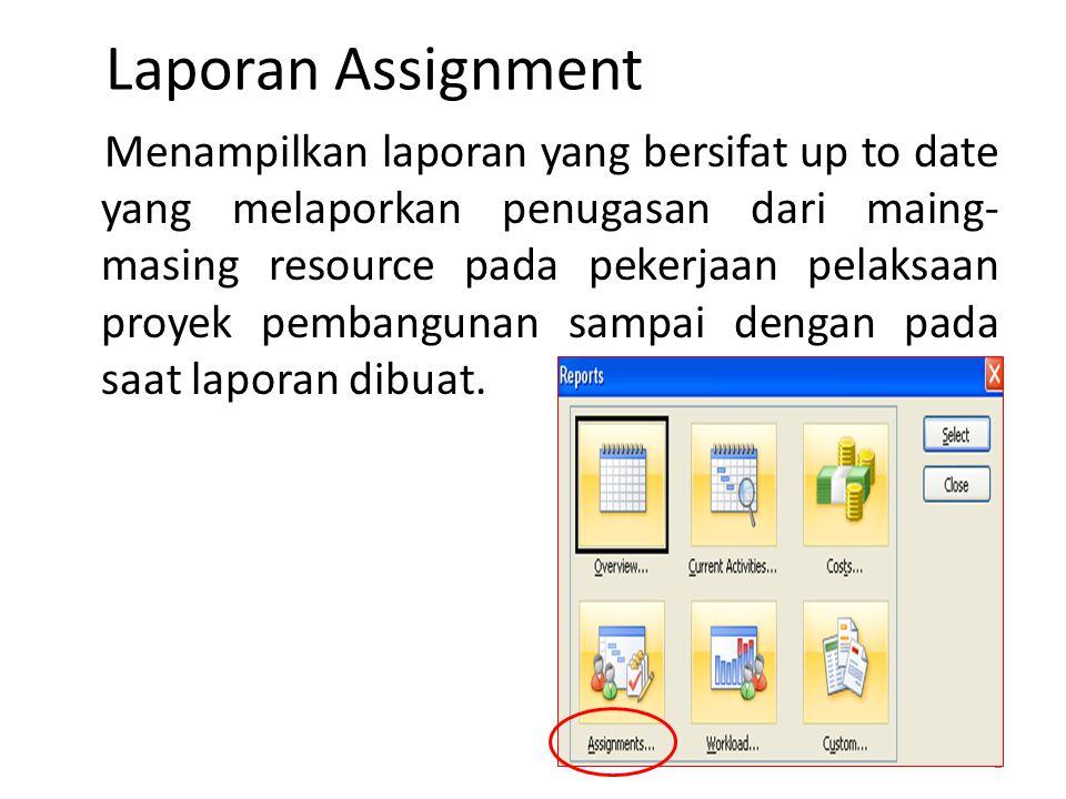Laporan Assignment Menampilkan laporan yang bersifat up to date yang melaporkan penugasan dari maing- masing resource pada pekerjaan pelaksaan proyek pembangunan sampai dengan pada saat laporan dibuat.
