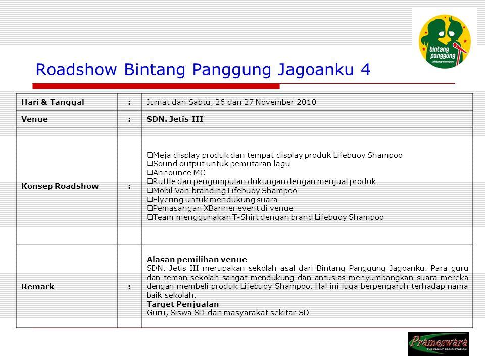 Logo Radio Roadshow Bintang Panggung Jagoanku 4 Hari & Tanggal:Jumat dan Sabtu, 26 dan 27 November 2010 Venue:SDN.