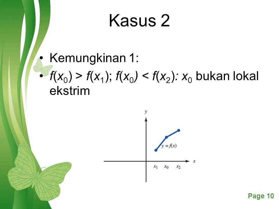 Free Powerpoint TemplatesPage 10 Kasus 2 Kemungkinan 1: f(x 0 ) > f(x 1 ); f(x 0 ) < f(x 2 ): x 0 bukan lokal ekstrim