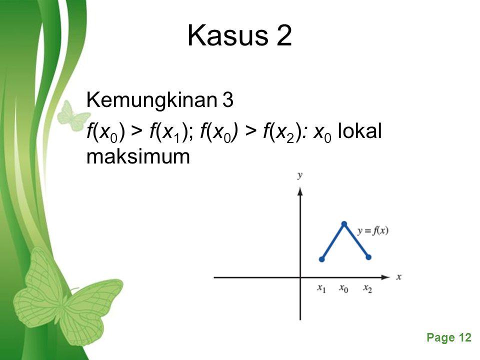 Free Powerpoint TemplatesPage 12 Kasus 2 Kemungkinan 3 f(x 0 ) > f(x 1 ); f(x 0 ) > f(x 2 ): x 0 lokal maksimum