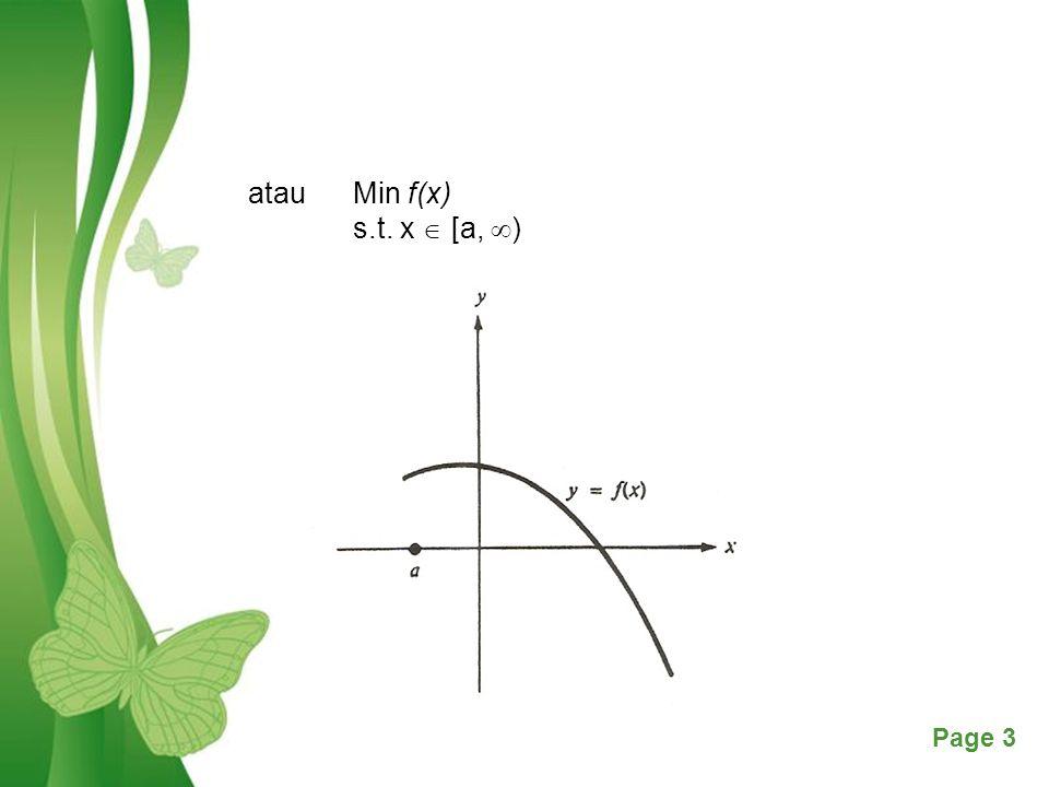 Free Powerpoint TemplatesPage 14 Kasus 3 Solusi berada pada titik akhir interval a atau b Terdapat beberapa kemungkinan berdasarkan tanda f '(a) atau f '(b)