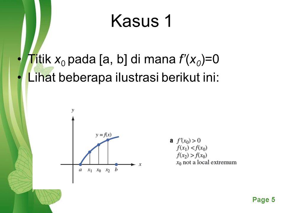 Free Powerpoint TemplatesPage 5 Kasus 1 Titik x 0 pada [a, b] di mana f'(x 0 )=0 Lihat beberapa ilustrasi berikut ini: