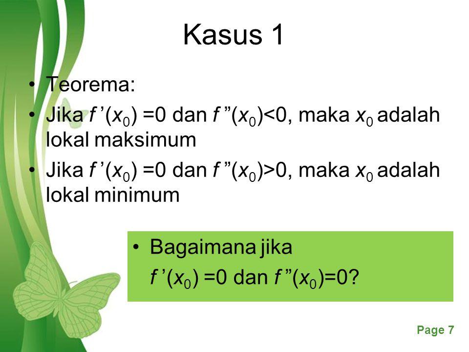 Free Powerpoint TemplatesPage 18 Kasus 3 Kemungkinan 4 f '(b) > 0 : b adalah lokal maksimum