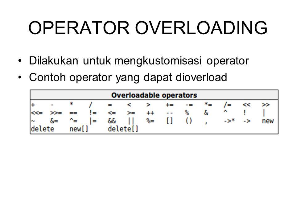 Contoh Kasus Operator Overloading Buat operator overloading untuk operator 1.