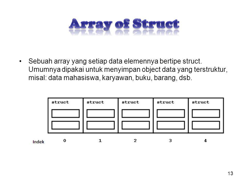 Sebuah array yang setiap data elemennya bertipe struct. Umumnya dipakai untuk menyimpan object data yang terstruktur, misal: data mahasiswa, karyawan,