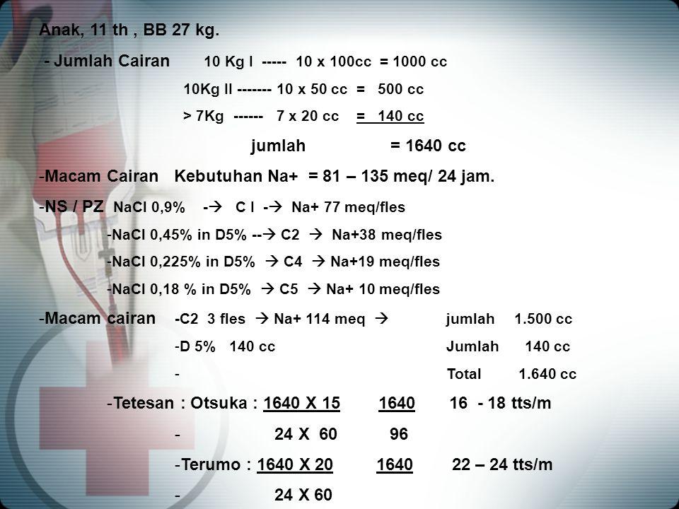 Anak, 11 th, BB 27 kg. - Jumlah Cairan 10 Kg I ----- 10 x 100cc = 1000 cc 10Kg II ------- 10 x 50 cc = 500 cc > 7Kg ------ 7 x 20 cc = 140 cc jumlah =