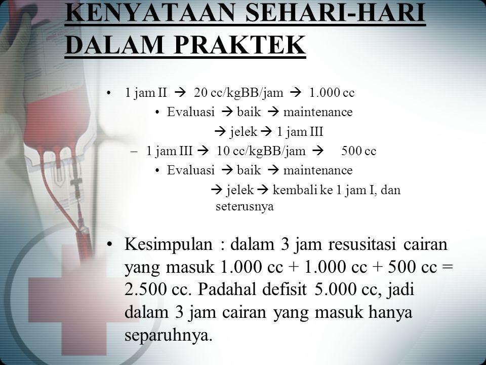 KENYATAAN SEHARI-HARI DALAM PRAKTEK 1 jam II  20 cc/kgBB/jam  1.000 cc Evaluasi  baik  maintenance  jelek  1 jam III –1 jam III  10 cc/kgBB/jam