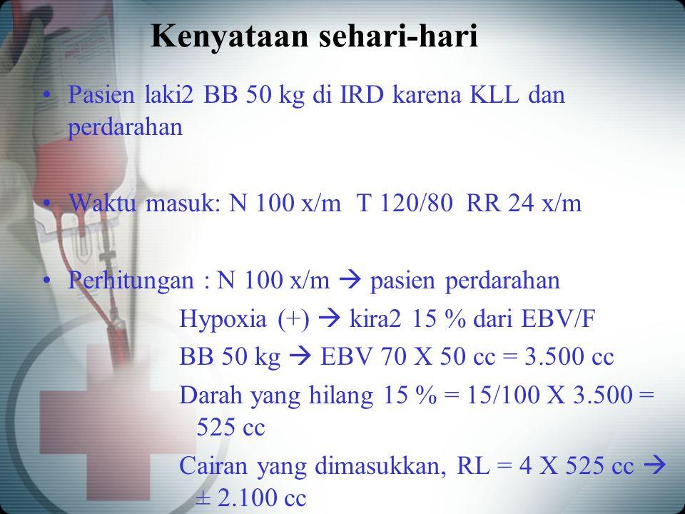 Kenyataan sehari-hari Pasien laki2 BB 50 kg di IRD karena KLL dan perdarahan Waktu masuk: N 100 x/m T 120/80 RR 24 x/m Perhitungan : N 100 x/m  pasie