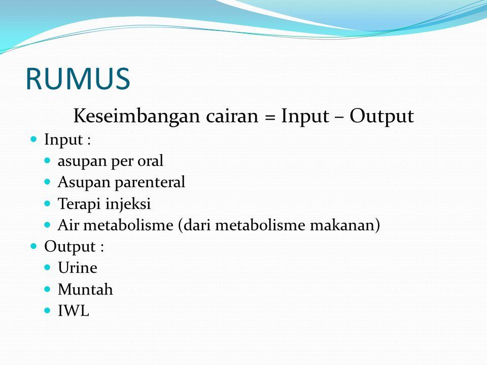 AIR METABOLISME (Iwasa M, Kogoshi S) Usia Balita (1 - 3 tahun) : 8 cc/kgBB/hari Usia 5 - 7 tahun : 8 - 8,5 cc/kgBB/hari Usia 7 - 11 tahun : 6 - 7 cc/kgBB/hari Usia 12 - 14 tahun : 5 - 6 cc/kgBB/hari