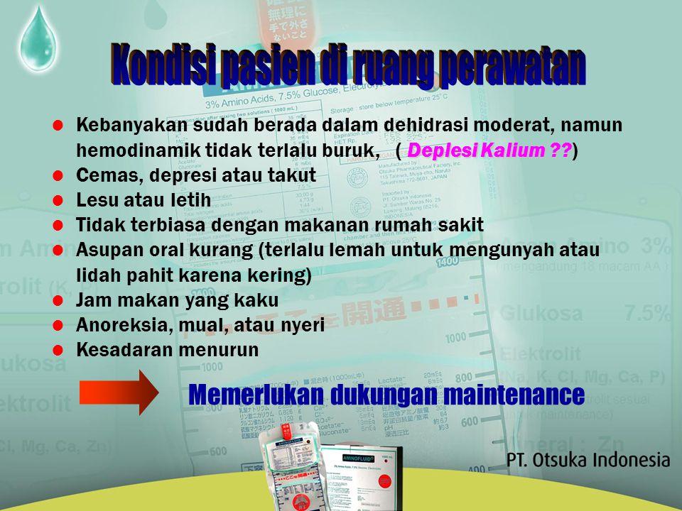 Ogawa's EstimateFuruya's Estimate Aminofluid Water Na + K+K+ Cl - Ca 2+ Mg 2+ P (mL) (mEq) 1750 - 2000 70 - 100 40 - 60 70 - 100 8 6 - 10 13 -15 1500 - 2000 60 - 80 25 / 1000 kcal 60 - 80 7 - 10 7 20 2000 70 40 70 10 20 (mmol) Ogawa R.