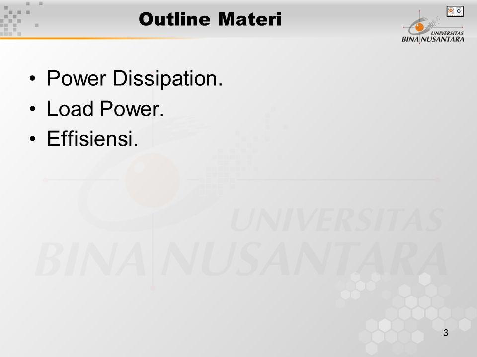 4 DAYA PADA PENGUAT KELAS A Quiescent Power Dissipation : P DQ = V CEQ.I CQ Load Power :