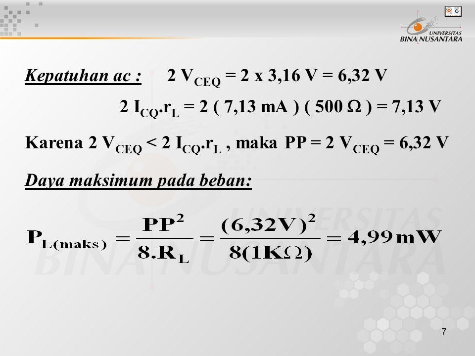 7 Kepatuhan ac : 2 V CEQ = 2 x 3,16 V = 6,32 V 2 I CQ.r L = 2 ( 7,13 mA ) ( 500  ) = 7,13 V Karena 2 V CEQ < 2 I CQ.r L, maka PP = 2 V CEQ = 6,32 V D