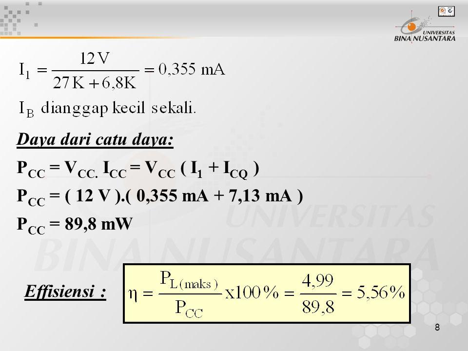 8 Daya dari catu daya: P CC = V CC. I CC = V CC ( I 1 + I CQ ) P CC = ( 12 V ).( 0,355 mA + 7,13 mA ) P CC = 89,8 mW Effisiensi :