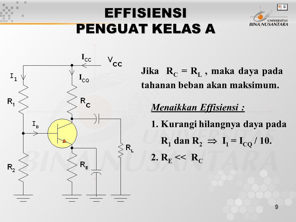 9 EFFISIENSI PENGUAT KELAS A Jika R C = R L, maka daya pada tahanan beban akan maksimum. Menaikkan Effisiensi : 1. Kurangi hilangnya daya pada R 1 dan