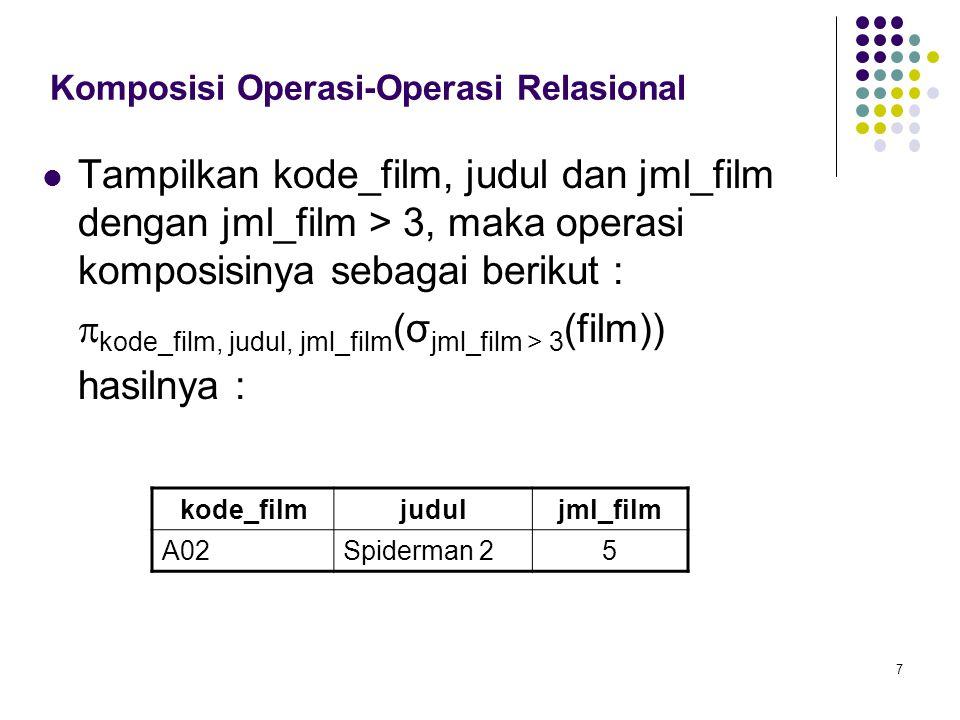 7 Komposisi Operasi-Operasi Relasional Tampilkan kode_film, judul dan jml_film dengan jml_film > 3, maka operasi komposisinya sebagai berikut :  kode_film, judul, jml_film (σ jml_film > 3 (film)) hasilnya : kode_filmjuduljml_film A02Spiderman 25