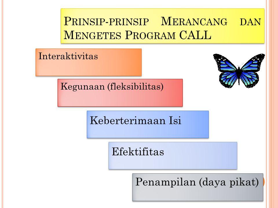 P RINSIP - PRINSIP M ERANCANG DAN M ENGETES P ROGRAM CALL Interaktivitas Kegunaan (fleksibilitas) Keberterimaan Isi Efektifitas Penampilan (daya pikat