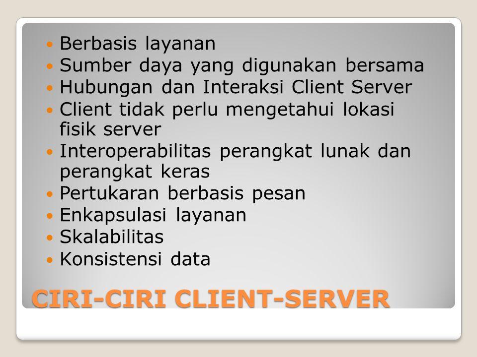 CIRI-CIRI CLIENT-SERVER Berbasis layanan Sumber daya yang digunakan bersama Hubungan dan Interaksi Client Server Client tidak perlu mengetahui lokasi