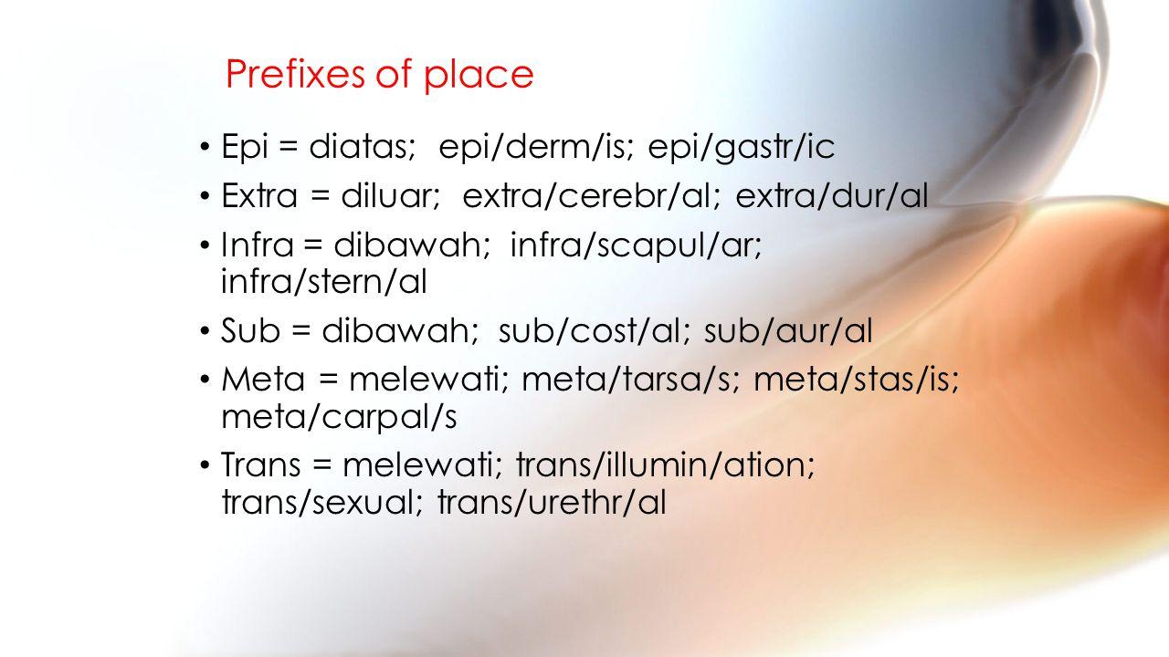 Prefixes of place Epi = diatas; epi/derm/is; epi/gastr/ic Extra = diluar;extra/cerebr/al; extra/dur/al Infra = dibawah; infra/scapul/ar; infra/stern/al Sub = dibawah; sub/cost/al; sub/aur/al Meta = melewati; meta/tarsa/s; meta/stas/is; meta/carpal/s Trans = melewati; trans/illumin/ation; trans/sexual; trans/urethr/al