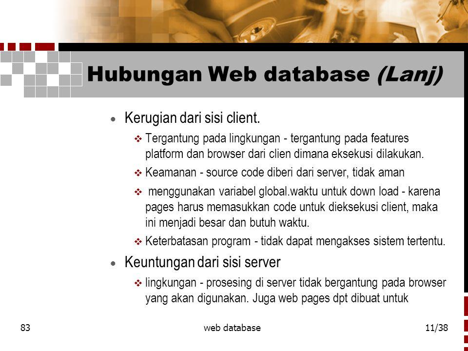 83web database11/38 Hubungan Web database (Lanj)  Kerugian dari sisi client.