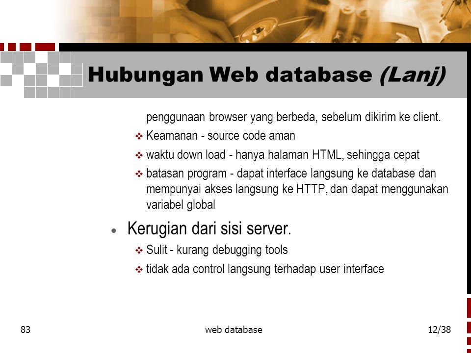 83web database12/38 Hubungan Web database (Lanj) penggunaan browser yang berbeda, sebelum dikirim ke client.
