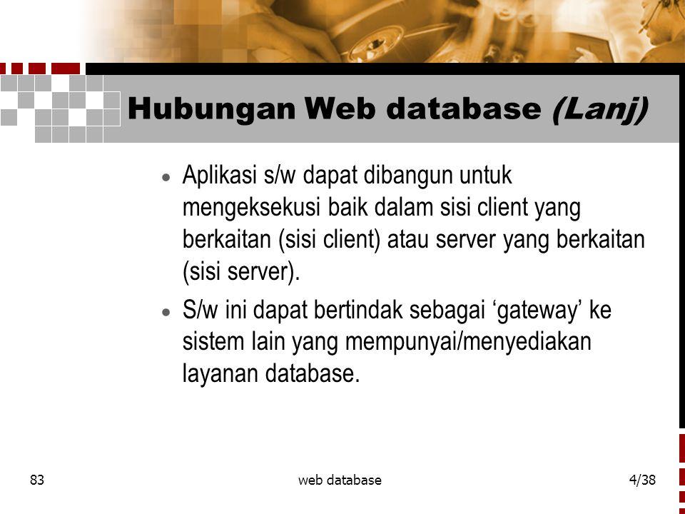 83web database5/38 Hubungan Web database (Lanj)  Ada 2 client umum yang saling menghubungi.